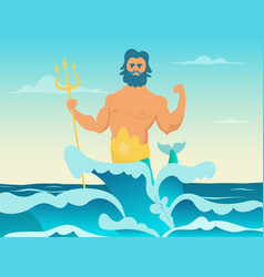 poseidon greek god of the sea vector image
