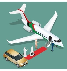 Private jet airplane two arab business mans vector