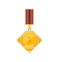 second place golden medal icon vector image