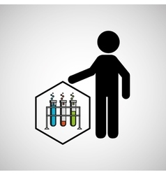 Silhouette man science test tube on rack vector