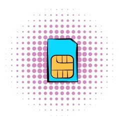 Sim card icon comics style vector