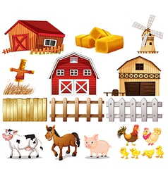 Things and animals found at the farm vector