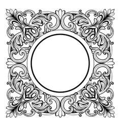Vintage imperial baroque mirror round frame vector