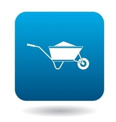 Wheelbarrow icon in simple style vector