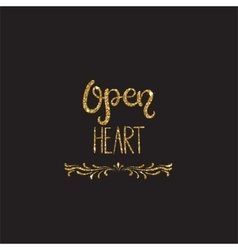 Open heart romantic lettering with glitter vector