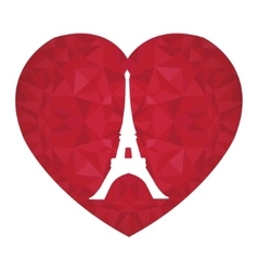 Eifel tower paris on st valentines day ruby vector
