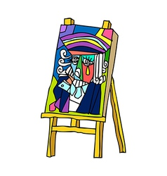 An easel is placed vector
