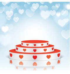 White pedestal with red hearts vector