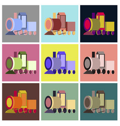 assembly flat icons toy train vector image