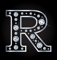 R letter made with diamonds isolated on vector