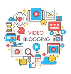 Video blogging flat line concept vector