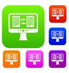 Translator app on the screen of computer set vector