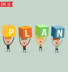 Business man showing plan box - - eps10 vector