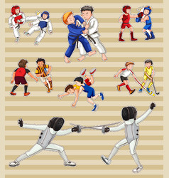 Sticker set with people playing sports vector
