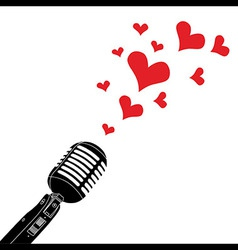 Microphone heart love valentines day vector