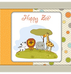 happy zoo vector image
