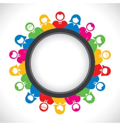 Colorful business men and women arrange in round t vector