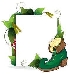 Leprechaun shoe and gold coins vector