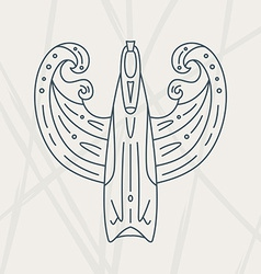 Diving fin pattern sketch vector