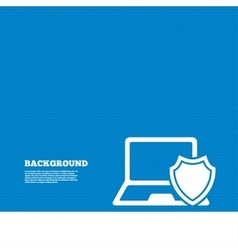 Laptop protection sign notebook with shield vector