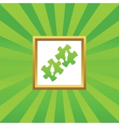 People puzzle picture icon vector