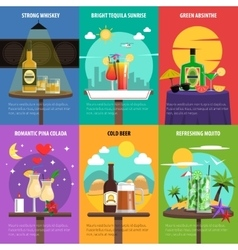 Cocktail poster set vector