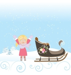 Happy child sled winter christmas snow snowflake vector