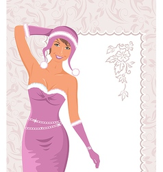 miss claus with greeting card - vector image