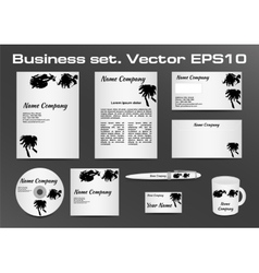 Business set black and white inkblot logotype vector