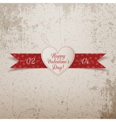 Valentines day realistic white heart with text vector
