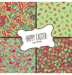 Bundle of patterns from colorful easter eggs vector