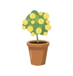 Decorative tree in flowerpot icon cartoon style vector