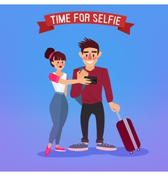 Tourists making selfie travel banner tourism vector