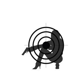 Girl with gun and target vector