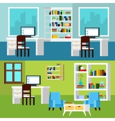 Office interior compositions banners vector