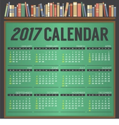 2017 printable calendar starts sunday vector
