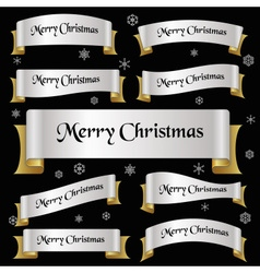 Silver and gold color merry christmas slogan vector