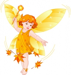 Autumn baby fairy vector