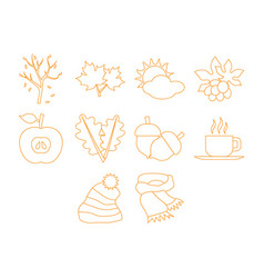 autumn season icon set vector image