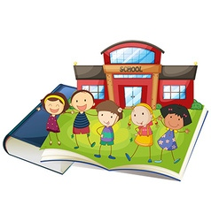 Books and children at the school vector image