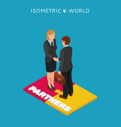 businessmen shake hands isometric vector image