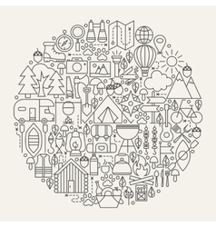 Camping line icons circle vector