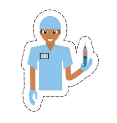 Cartoon nurse male suit gloves and syringe vector