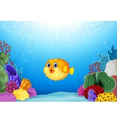 Cartoon puffer fish with coral reef underwater vector