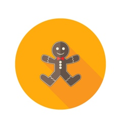 Christmas gingerbread man with red bow flat icon vector