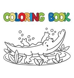 Coloring book of little alligator or crocodile vector
