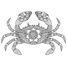 crab coloring book vector image vector image
