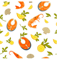 delicious salmon king shrimp and exotic oysters vector image
