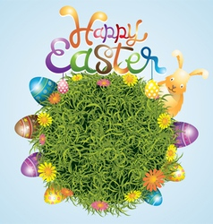 Easter Eggs and Bunny with Grass Background vector image vector image
