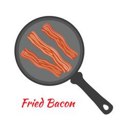 fried bacon on pan cartoon flat style vector image